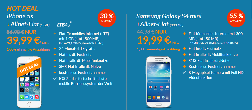 Blue-Deals iPhone 5s mit Allnet-Flat für 1 Euro