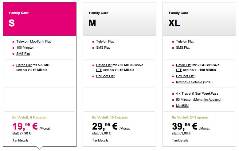 Telekom Family Card Tarife