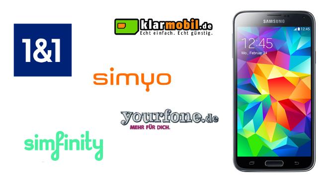 Samsung Galaxy S5 mit Mobilfunkanbietern 1 und 1, simyo, simfinity, klarmobil.de und yourfone