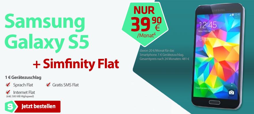 Simfinity Angebot für Samsung Galaxy S5