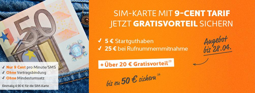 Simyo Aktion - 20 Euro Gratis erhalten