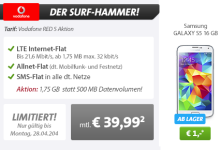Samsung Galaxy S5 mit Vodafone Red S für 39,99 Euro