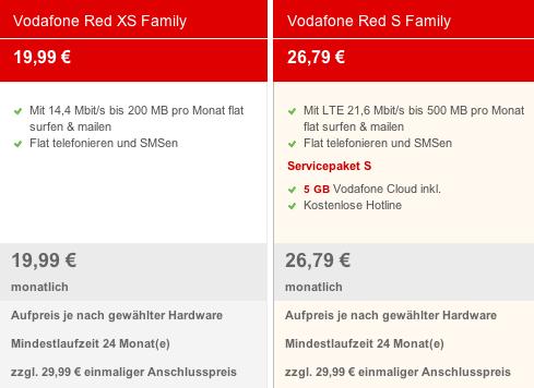 Vodafone Red XS Familiy Tarif