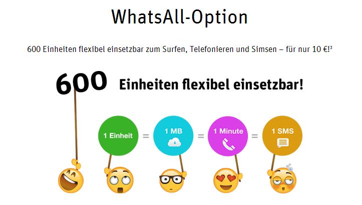 WhatsAll Option im WhatsApp Tarif