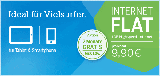 Prepaid Tarif Internet Flat 1 GB von Blau 2 Monate Gratis