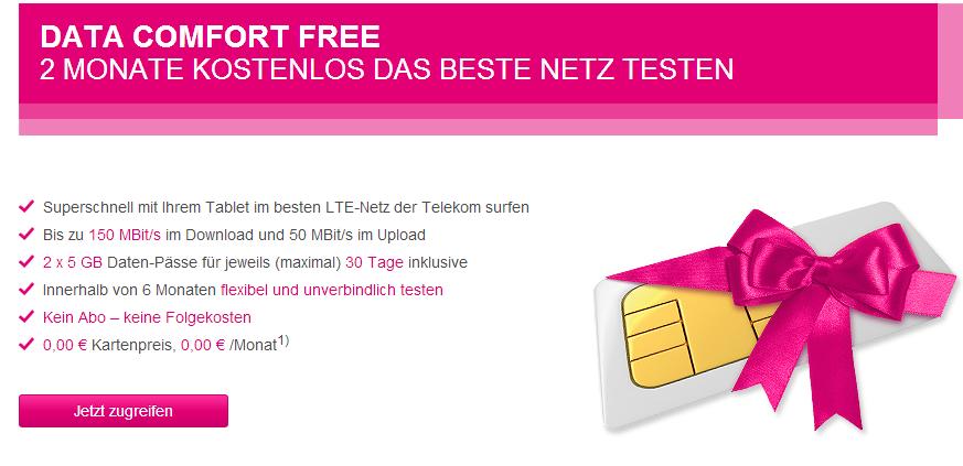 5 GB Datenvolumen mit LTE Geschwindigkeit kostenlos bei Telekom