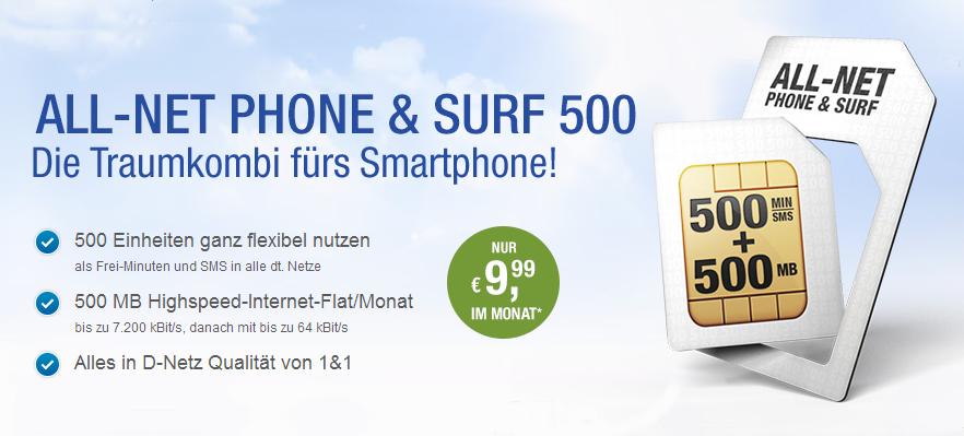 All-Net Phone & Surf 500 - Smartphone Tarif von GMX und WEB.DE