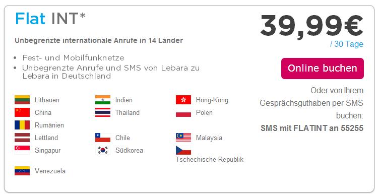Allnet-Flat für Ausland von Lebara Mobile