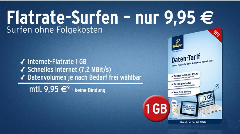 Daten-Flat für 9,95 Euro pro Monat mit 1 GB Highspeed-Volumen