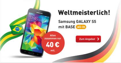 WM Aktion von BASE: Samsung Galaxy S5 für 40 €
