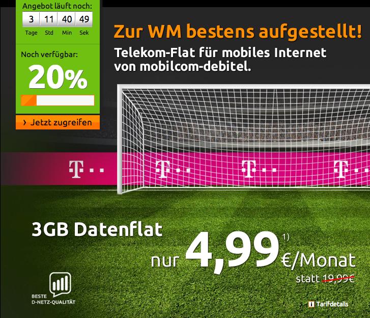 3 GB Daten-Flat für 4,99 im Telekom Netz von crash-tarife