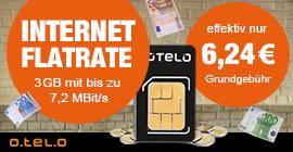 Internet Flatrate 3 GB von Otelo über LogiTel für effektiv 6,24 €