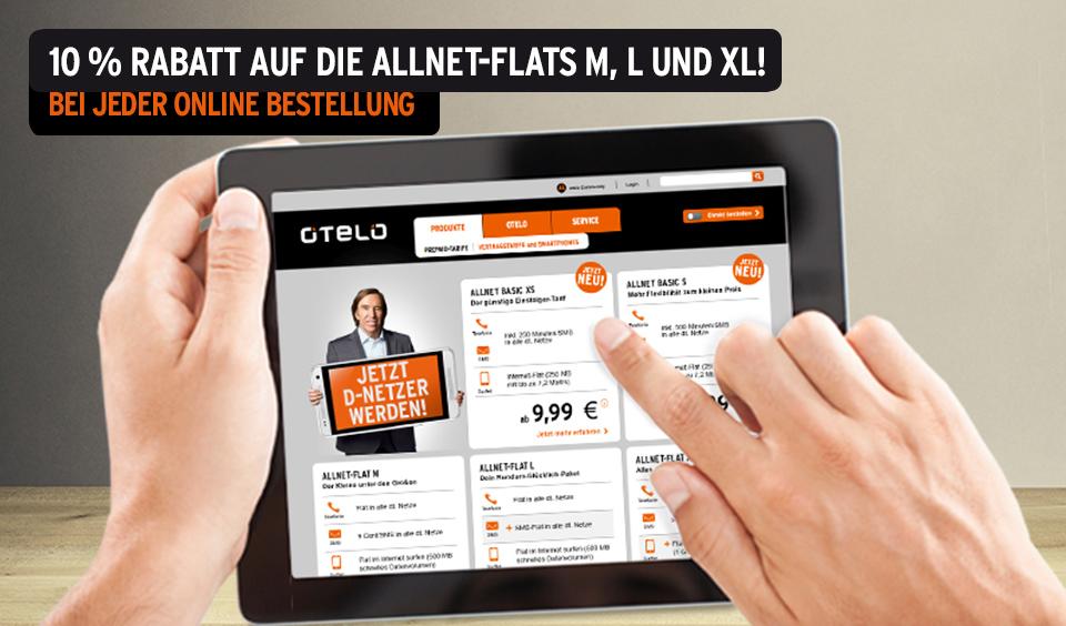 10 % Rabatt auf Allnet-Flat Tarife bei Otelo