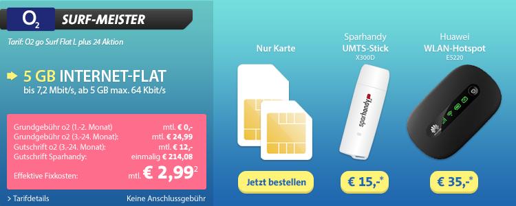 5 GB Internet-Flat von sparhandy im o2 Netz