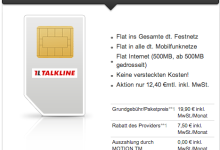 Allnet-Flat von Talkline für 12,40 Euro