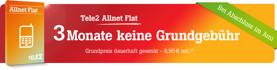 Tele2 Angebot für Allnet-Flat Tarife