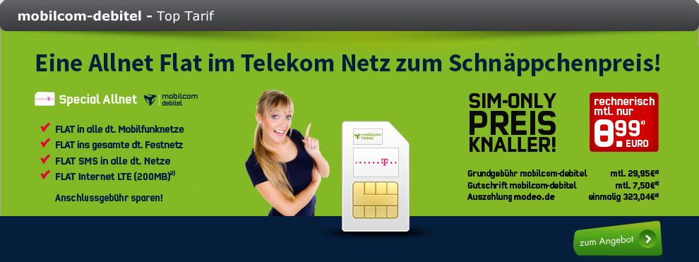 Allnet-Flat für 8,99 Euro im Telekom Netz von Modeo