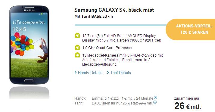 Samsung Galaxy S4 mit BASE All-In für 1 Eur