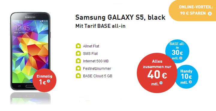 BASE All-In mit Samsung Galaxy S5 für 1 Euro