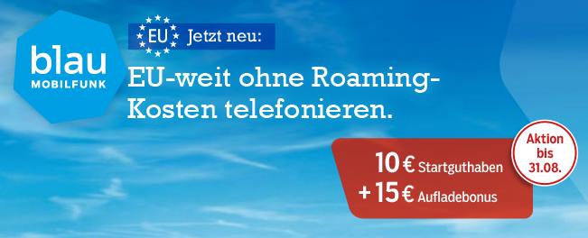 EU Roaming Paket von Blau