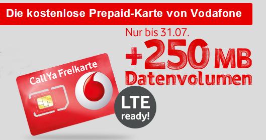 Callya Sim Karte.Vodafone Callya Prepaid Karte Mit Lte Zugang Extra Datenvolumen