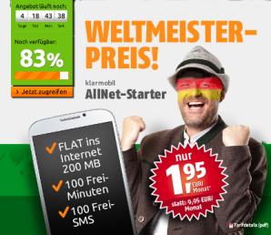 crash-tarife: 100 Frei-Minuten, 100 Frei-SMS und 200 MB Daten-Flat für 1,95 Euro