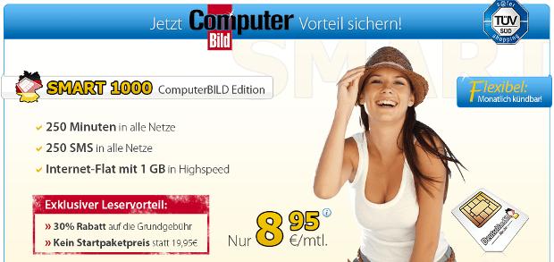 ComputerBILD und DetuschlandSIM Leseraktion - SMART 1000 4 Euro günstiger