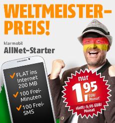 Klarmobil Allnet Starter Tarif bei crash-tarife.de um 8 Euro günstiger