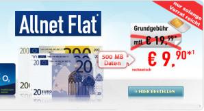 Handybude: o2 Allnet Flat mit 500 MB Datenvolumen für 9,90 Euro