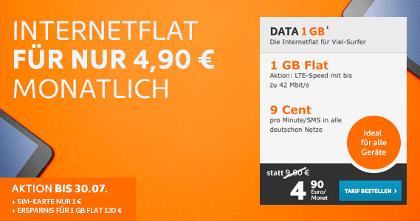 1 GB Internet-Flat 50% günstiger als Partnerkarte