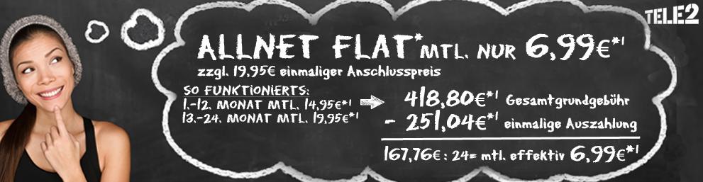 handyliga 2 Jahrjubileum: Allnet-Flat von Tele2 für 6,99 Euro