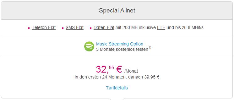 Special Allnet Flat Tarif von Deutsche Telekom in Übersicht