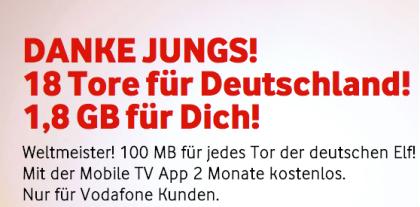 1,8 GB Datenvolumen nach WM in Brasilien kostenlos für Vodafone Kunden
