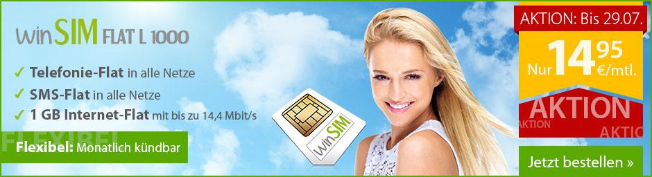 winSIM Allnet-Flat mit 1 GB Datenvolumen für 14,95 €