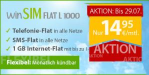 winSIM: Allnet-Flat für Telefonie und SMS mit 1GB Datenvolumen für 14,95 Euro
