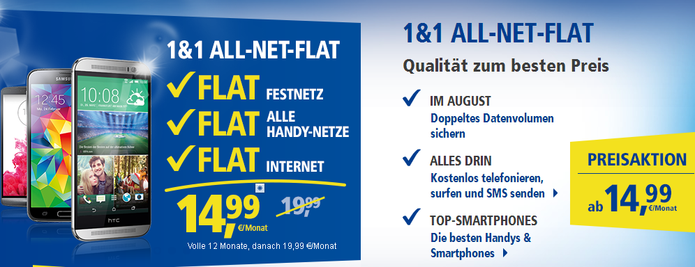 Aktion im August: Doppeltes Datenvolumen