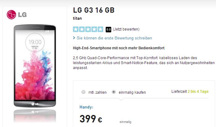 LG G3 bei Base für 399 Euro einmalig