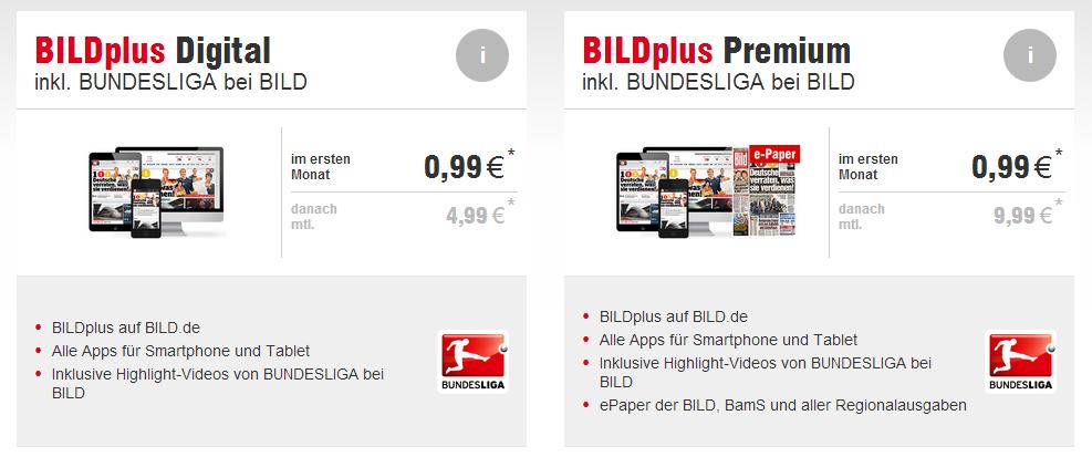 BildPlus mit Bundesliga bei BILD, zwei Optionen zur Auswahlt