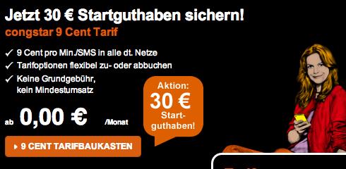 Basis Tarif mit 30 Euro Startguthaben