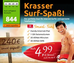 crash-tarife: 1 GB Daten-Flat, 50 Minuten und 50 SMS im Vodafone Netz für 4,99 Euro