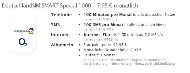 DeutschlandSIM Smart Special mit 1 GB Daten-Flat für unter 8 Euro im Monat ohne Vertragslaufzei