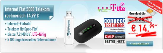 5 GB Daten-Flatrate mit LTE und im Telekom Netz für 14,99 €