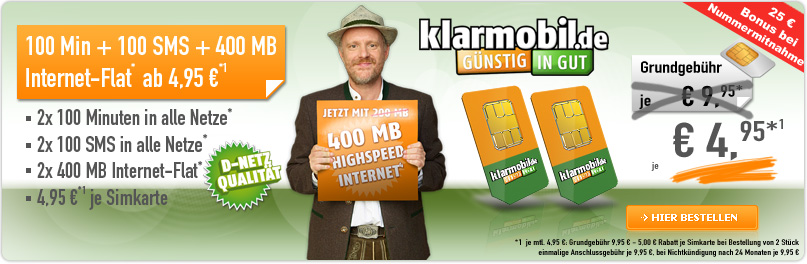 Klarmobil Allnet Spar Flat Tarif 50% günstiger!
