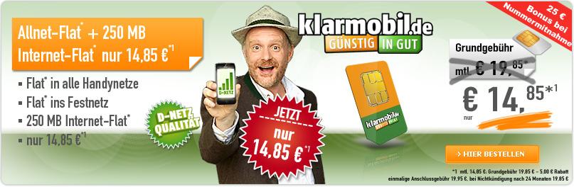 Klarmobil Allnet Spar Flat Tarif 5 Euro günstigber über handybude
