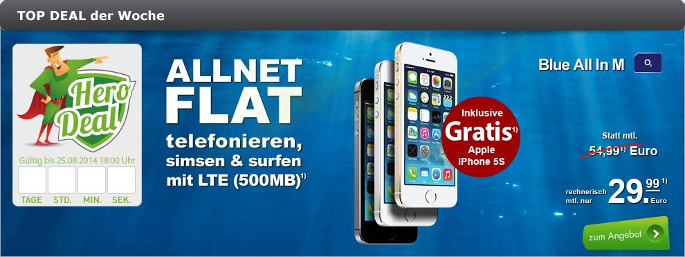 iPhone 5s mit Allnet-Flatrate für 29,99 € im Monat