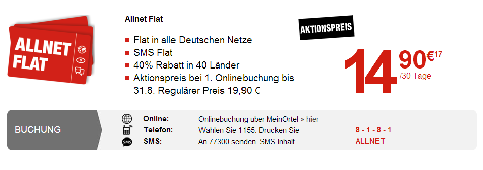Ortel Mobile: Prepaid Allnet Flat für 14,90 Euro im ersten Monat