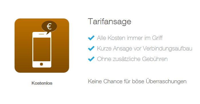 Tarifansage - neue Feature von simquadrat