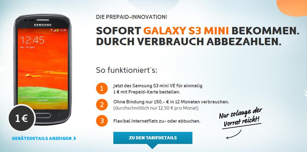 Prepaid Tarif von Simyo mit Samsung Galaxy S3 mini für 1 Euro