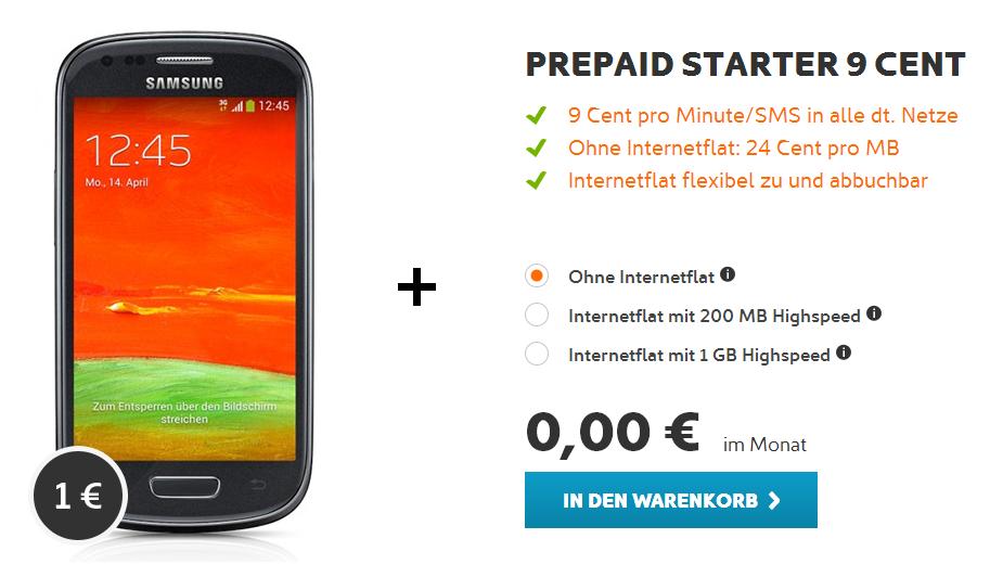 Prepaid Starter mit Samsung Galaxy S3 mini Bestellübersicht