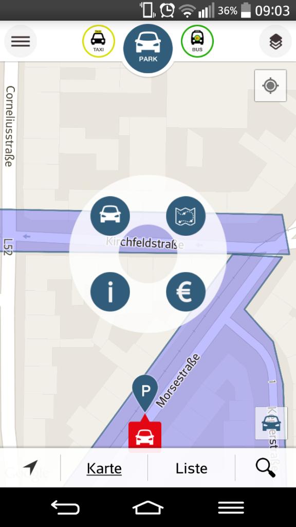 Parkplatzauswahl